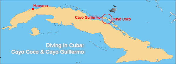 diving in cayo coco tour map