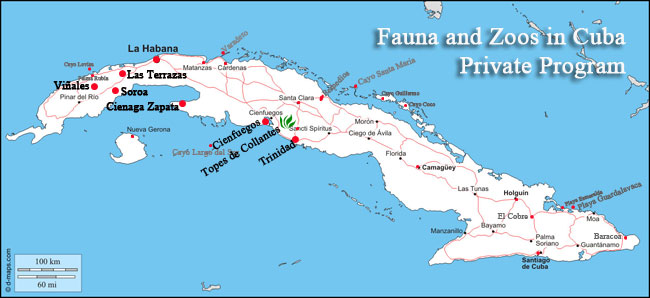 fauna and zoos in cuba tour map