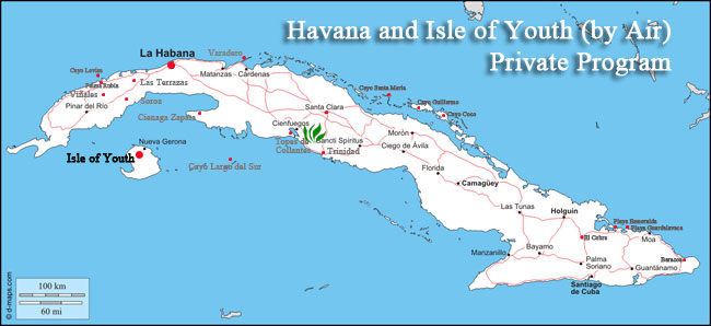 havana and isle of youth map tour cuba